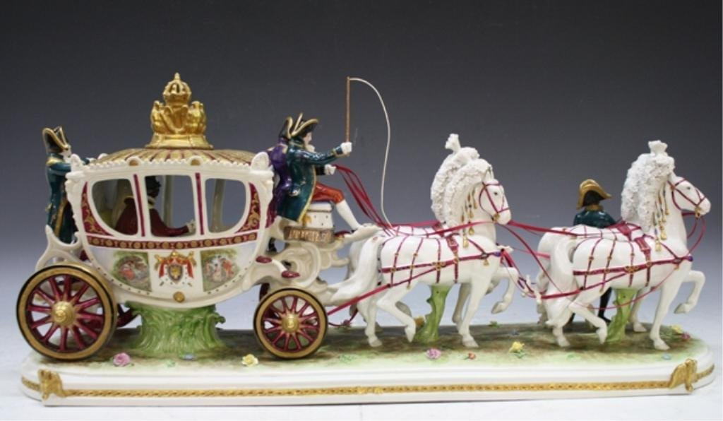 9: Sitzendorf German Porcelain Horse Carriage