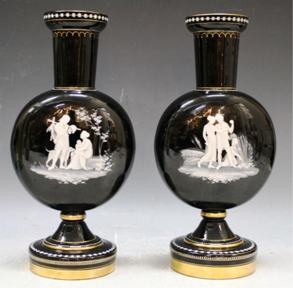 10: Pair of Glass and Enamel Vases 19th C.