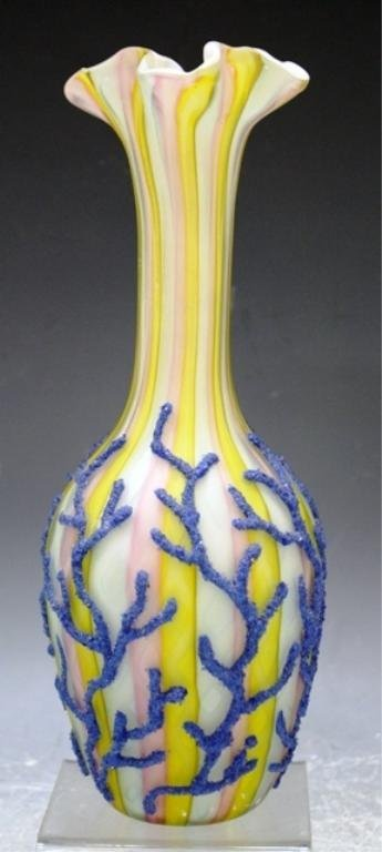 11: Satin & Coralene Glass Vase Probably Webb 19th C