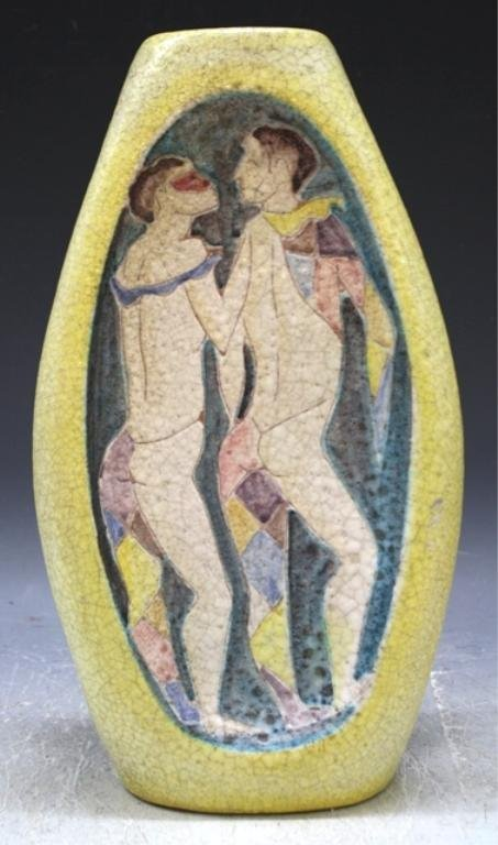 12: Italian Ceramic Vase with Two Figures by Fantoni