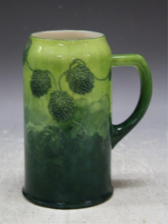 15: Belleek Porcelain Mug w/ Green Hops Irish