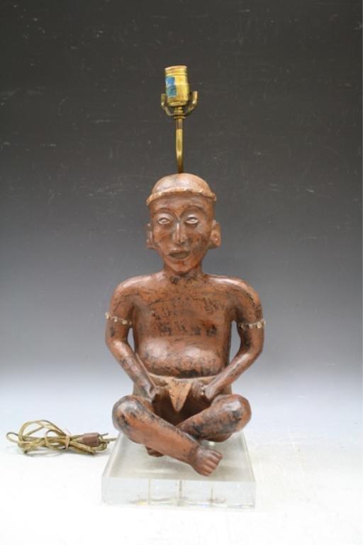 18: Seated Ceramic Incan Figure Lamp 1970s
