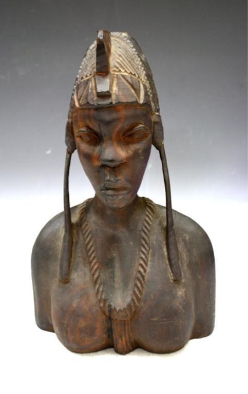 19: African Woman Wooden Sculpture
