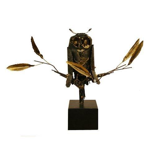 24: Metal Owl Brutalist Sculpture
