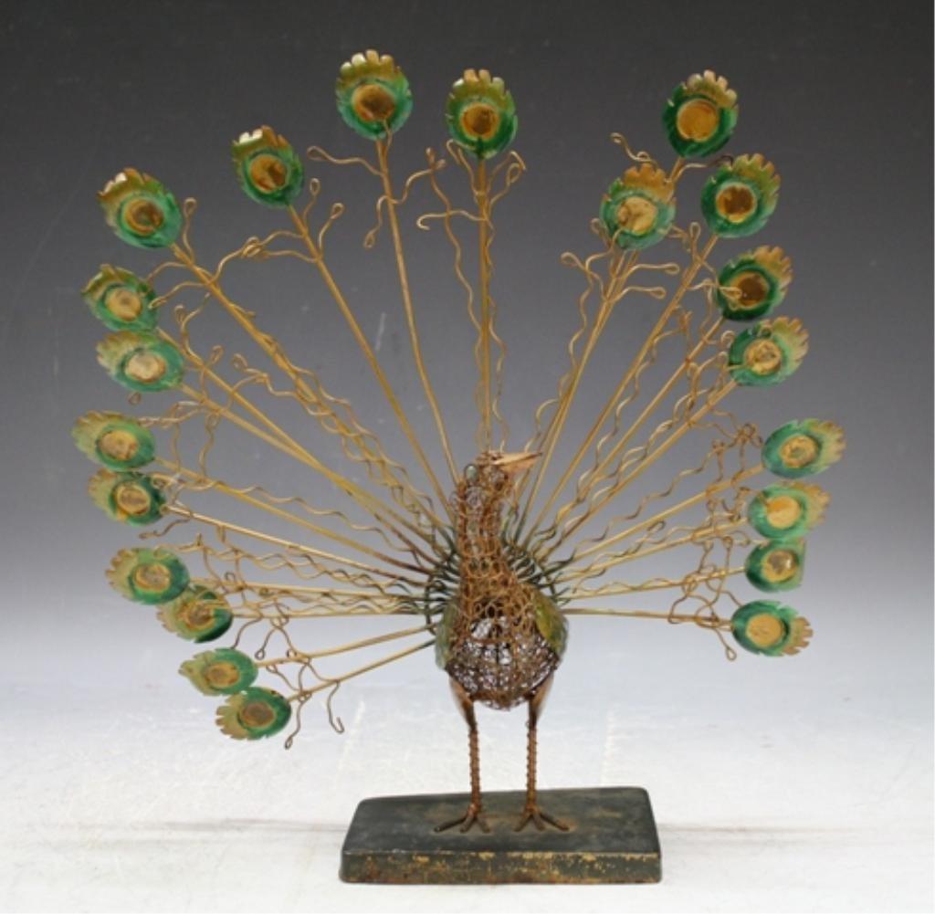 25: Vintage Brass Wire Peacock Sculpture