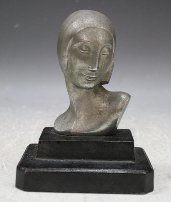27: Nickel Plated Iron Female Bust