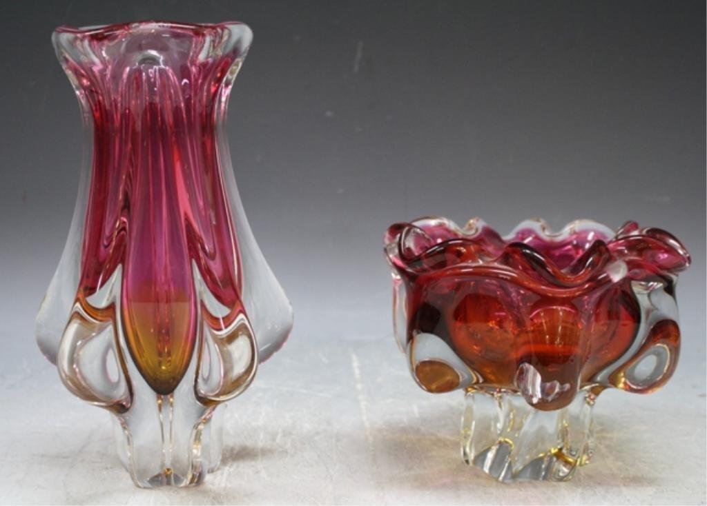 65: Czech Hospodka for Chribska Glass Vase & Bowl - 2