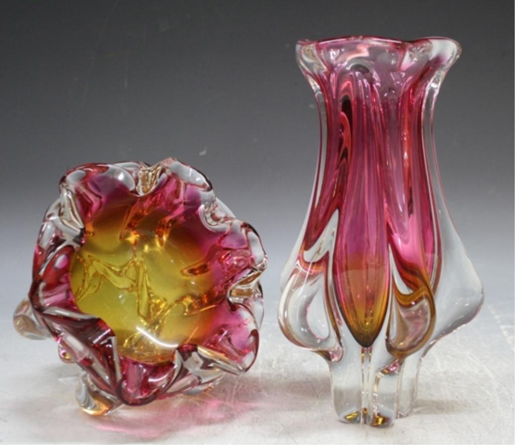 65: Czech Hospodka for Chribska Glass Vase & Bowl - 4