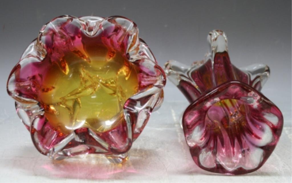 65: Czech Hospodka for Chribska Glass Vase & Bowl - 5