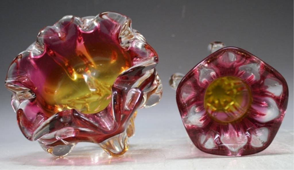 65: Czech Hospodka for Chribska Glass Vase & Bowl - 6