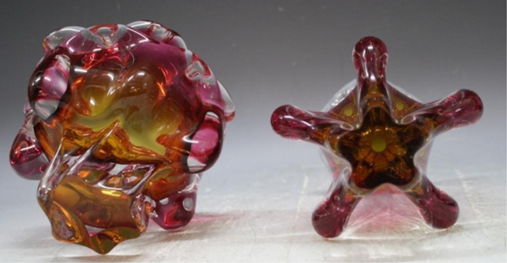 65: Czech Hospodka for Chribska Glass Vase & Bowl - 8
