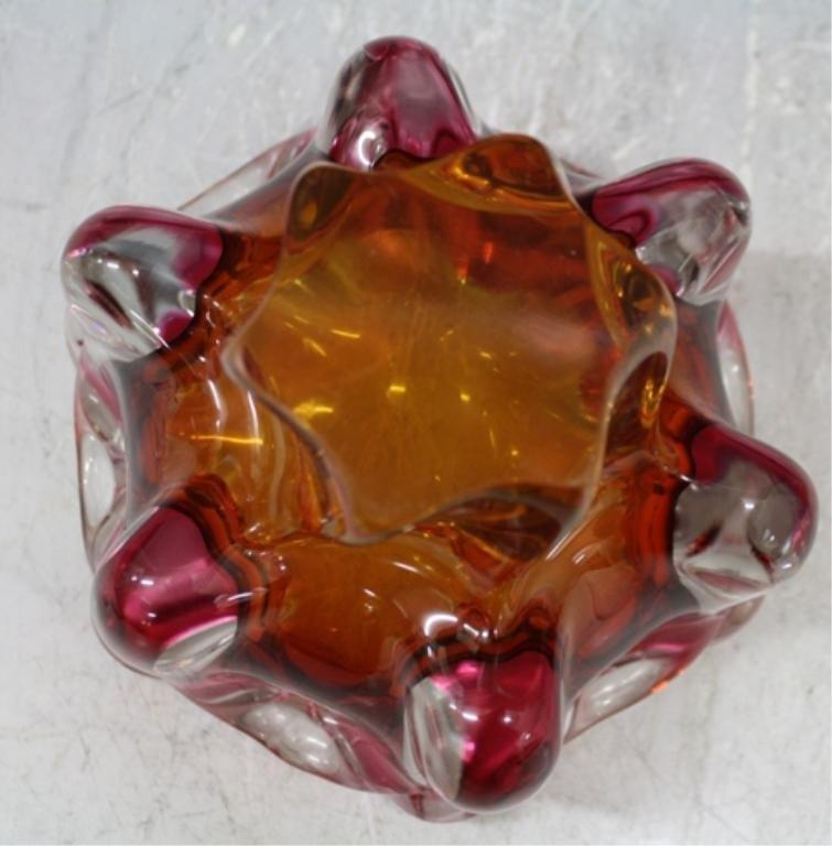 65: Czech Hospodka for Chribska Glass Vase & Bowl - 9