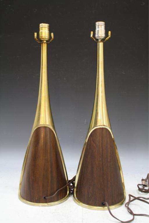 103: Pair of Wood & Brass Laurel Lamps American