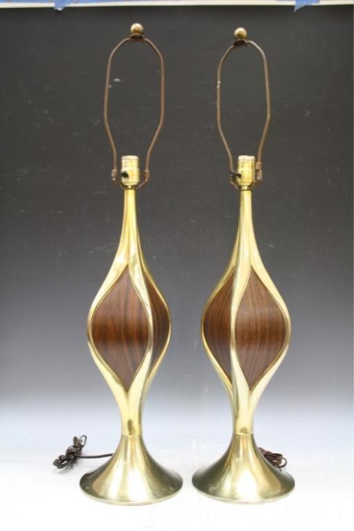 104: Pair of Wood & Brass Laurel Lamps 1960s American