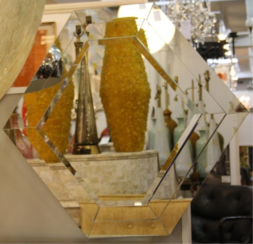108: Mid Century Stacked Geometric Wall Mirror