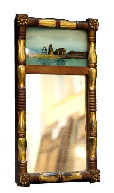 109: Painted Mirror with Golden Brushed Border