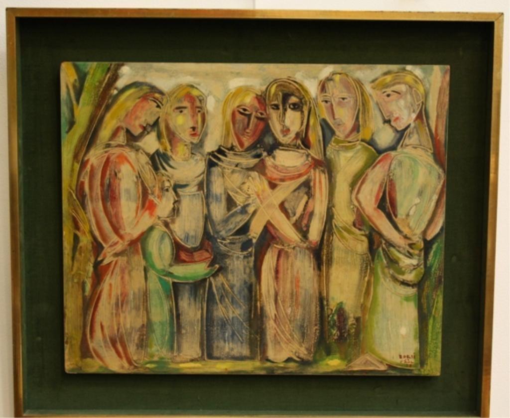 120: Manfredo Borsi Figural Painting 1950 Italian