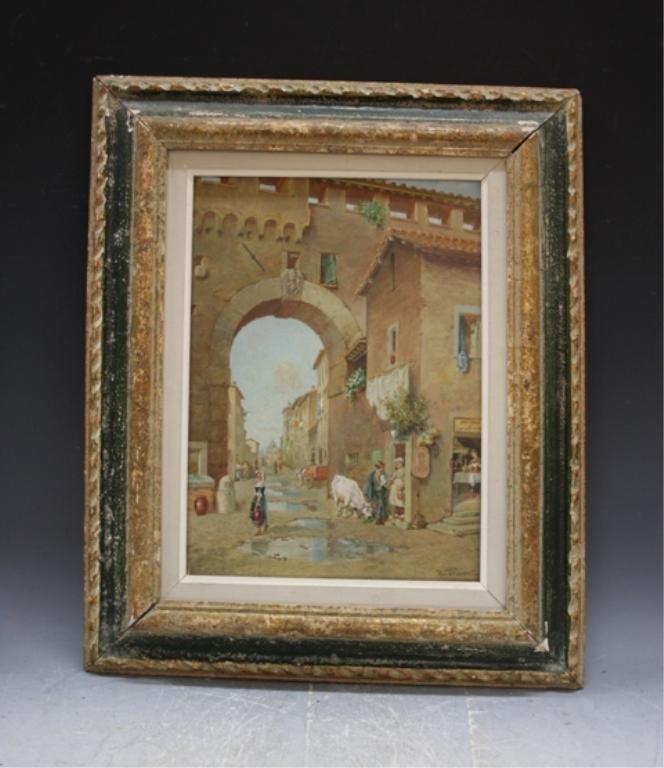 127: U. Fioravanti Italian Village Scene Painting 20 C.