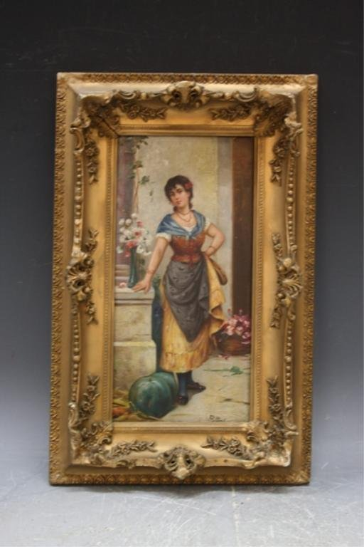 128: Rollini Painting of Woman w/ Tambourine Italian