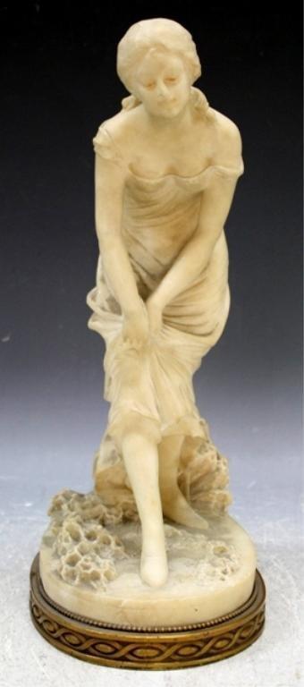 3: E. Fiaschi Alabaster Sculpture of Woman Italian