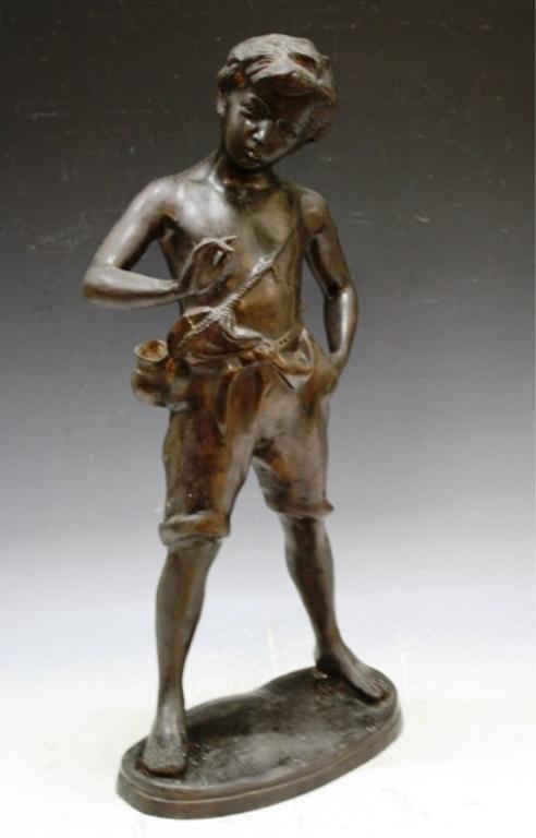 7: Auguste Moreau Bronze Sculpture of Boy French