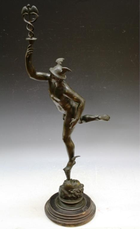 8: Bronze Sculpture of Hermes w Fig Leaf on Pedestal