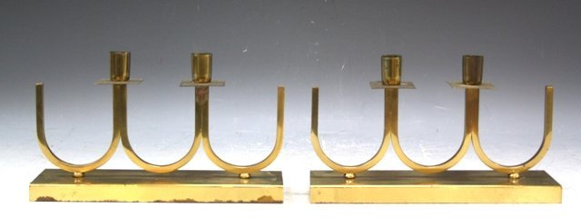 20: Pair of Brass Candle Holders Tommi Parzinger Style