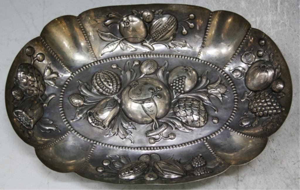 22: German 800 Silver Art Nouveau Oval Fruit Bowl