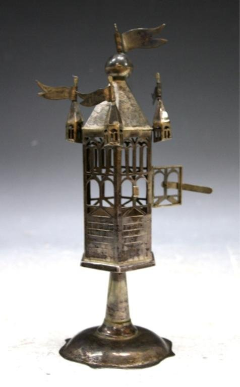 23: Silver Havdalah Judaica Tall Spice Box Tower