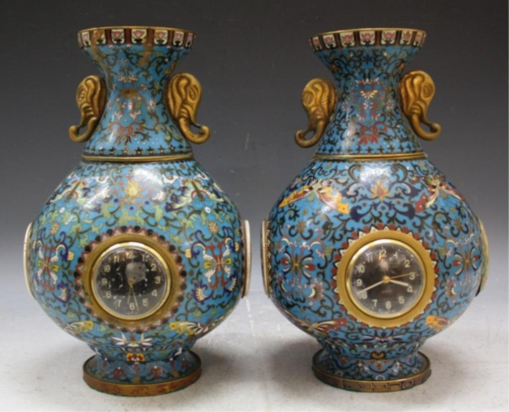 255: Pair of Chinese Cloisonne Clock Vases
