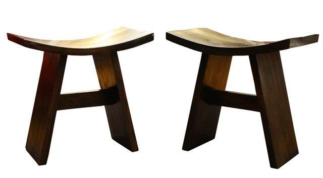 1: Pair Wooden Mid-Century Tribal Short Stools