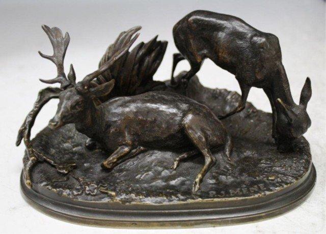 10: French PJ Mene Bronze Deer Sculpture Signed