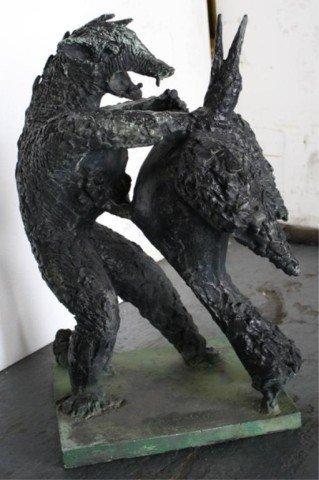 """12: Chana Orloff """"War and Peace"""" Bronze Sculpture 1951"""