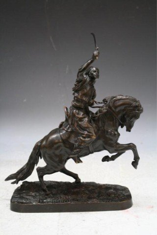 16: 19th C. Russian Bronze Figure on Horse by Lanceray