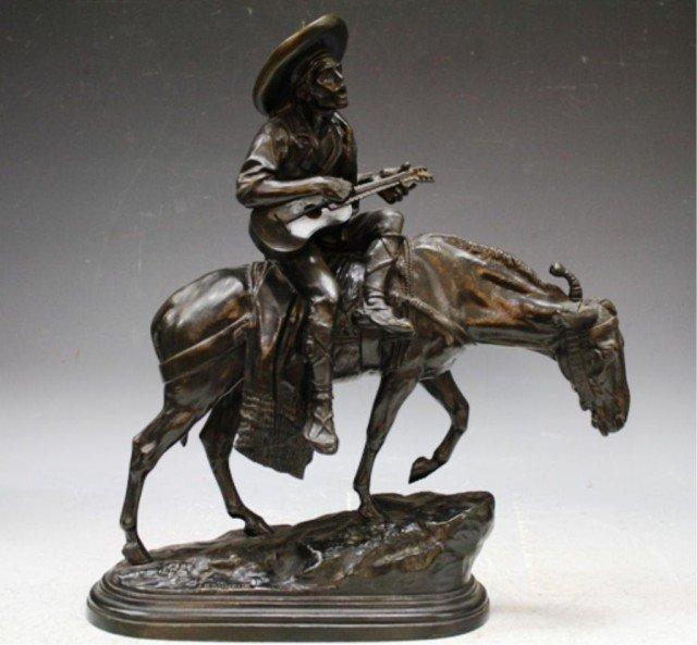 17: Isidore Bonheur French Bronze Musician & Mule 19C.
