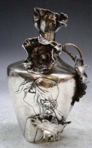 25: Silvered Porcelain Art Nouveau Woman Flower Vase