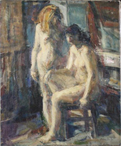 60: Unframed Oil Painting of Two Female Nudes