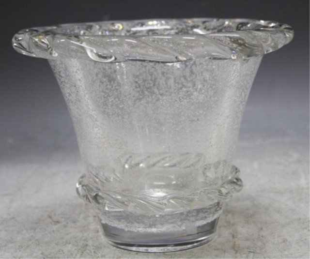 12: Daum Nancy Glass Vessel w/ Ruffled Edge French