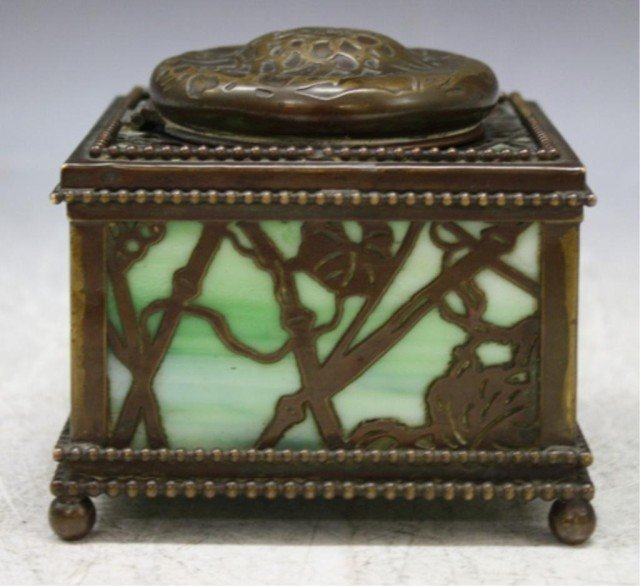16: Tiffany Bronze Overlay Glass Art Nouveau Ink Well