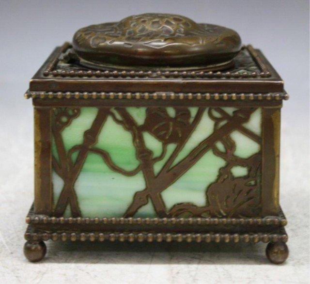 16: Tiffany Bronze Overlay Glass Art Nouveau Ink Well
