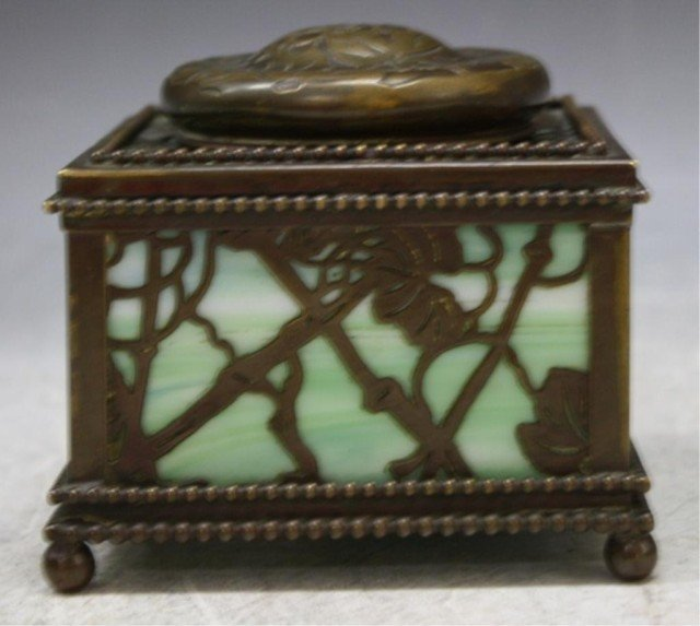 16: Tiffany Bronze Overlay Glass Art Nouveau Ink Well - 2
