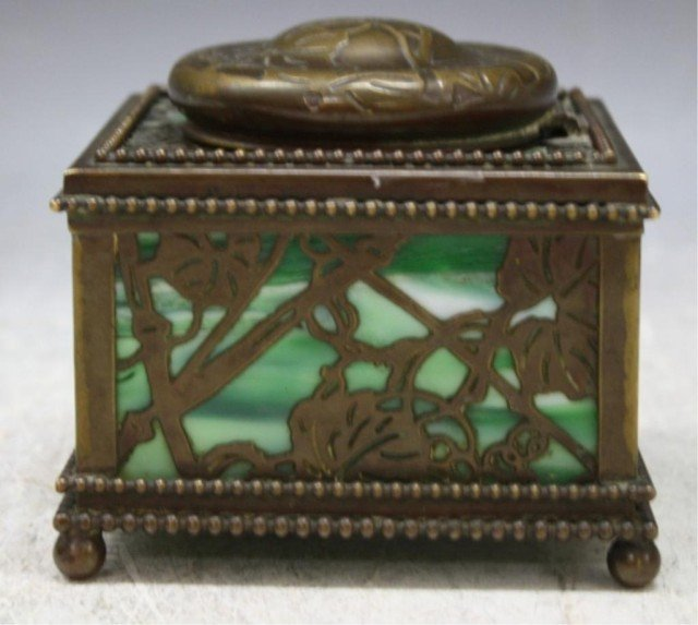 16: Tiffany Bronze Overlay Glass Art Nouveau Ink Well - 3