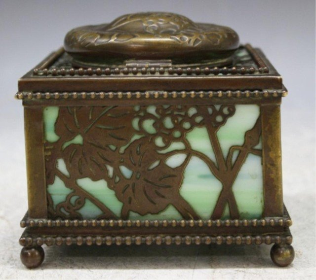 16: Tiffany Bronze Overlay Glass Art Nouveau Ink Well - 4