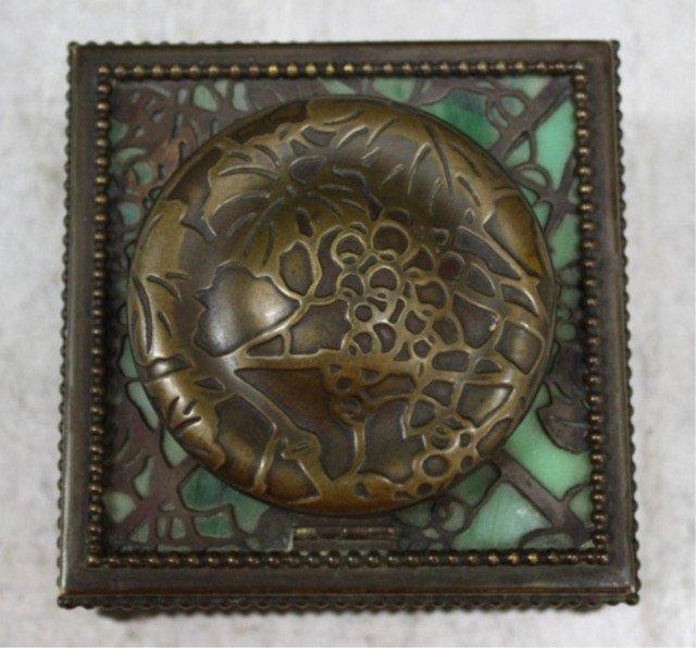 16: Tiffany Bronze Overlay Glass Art Nouveau Ink Well - 5