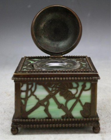 16: Tiffany Bronze Overlay Glass Art Nouveau Ink Well - 7