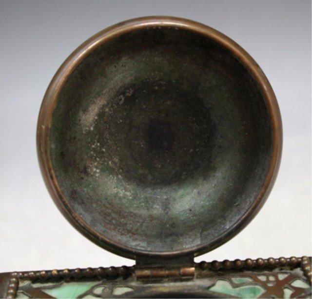 16: Tiffany Bronze Overlay Glass Art Nouveau Ink Well - 9