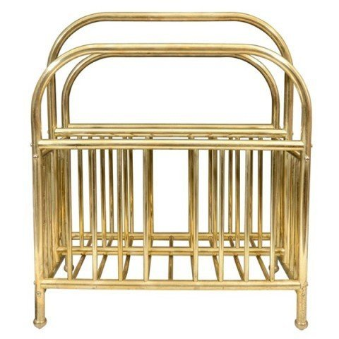 19: Mid Century Brass Magazine Stand Rack Caddy