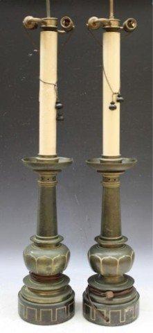 21: Pair of Metal Stiffel Lamps Mid Century American