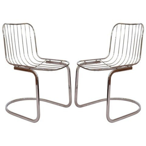 22: Pair of Mid Century Tubular Chrome Frame Chairs