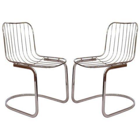22: Pair of Mid Century Tubular Chrome Frame Chairs
